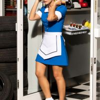 Gratuitous Blue Waitress Outfit pictures of Clara